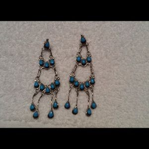 Jewelry - Dangling beautiful turquoise Sterling earrings